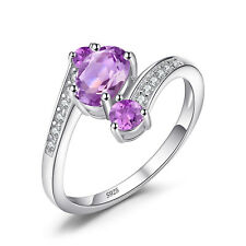 JewelryPalace 925 Sterling Silver 0.9ct Natural Amethyst Anniversary Ring