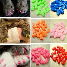20pcs Soft Cat Pet Nail Caps Claw Control Paws off +Adhesive Glue XS-XL Size ab