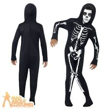 Child Skeleton Onesie Costume Boys Kids Halloween Fancy Dress Outfit New