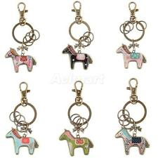 Delicate Cute Horse Charm Alloy Key Ring Keychain with Bronze Split Ring Gift