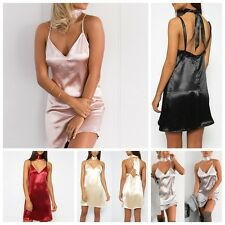 Women V-Neck Sleeveless Sexy Stripper sling Dress Metallic  Clubwear Mini Dress