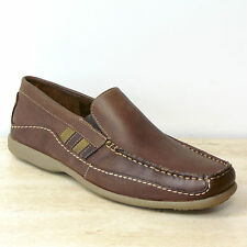 New M&S Waxy REAL LEATHER Slip-On MOCCASIN LOAFERS ~ Size 6 ~ BROWN