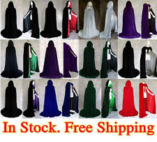 Stock Medieval Velvet Hooded Capes Wedding Wicca Cloaks Halloween Party S-XXL