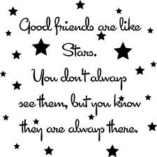 GOOD FRIENDS ARE LIKE STARS VINYL WALL DECAL HOME DECOR QUOTE SAYING