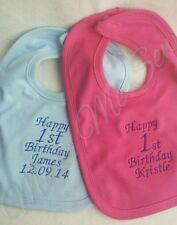 Personalised baby Bib funny toddler 1st birthday Gift cupcake candle & NAME new