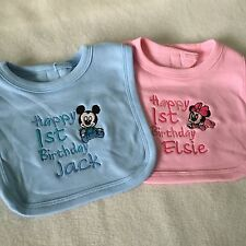 PERSONALISED BABY BIB MICKEY MOUSE TODDLER 1ST BIRTHDAY CAKE BIB CHOOSE COLOUR!