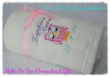 PERSONALISED BABY BLANKET FLEECE NEWBORN GIFT + NAME & DATE OWL BOYS & GIRLS
