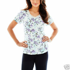 Ambrielle Lace-Accented Short-Sleeve Sleep Tee Size XL Water Blooms Fair New