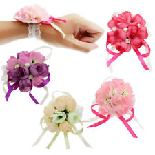 Bridal Bridesmaid Wrist Corsage Rose Ribbon Flowers Wedding Party Accessories