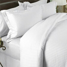 1000TC Egyptian Cotton DUVET COVER Sateen White Stripe
