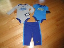Nike Baby Boys 3 Piece Outfit Set Pants 2 Bodysuits Rompers Boy's 6M 9M 12M NWT