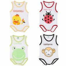 0-9M Baby Boy Girl Animal Print Sleeveless Romper Bodysuit Playsuit Outfit Cloth