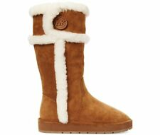 MICHAEL KORS WINTER SHEARLING LOGO TALL COLD WEATHER FLAT BOOTS