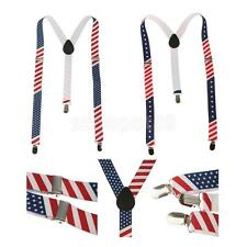 Stretchble Y-back Suspender American Flag Stars Suspender Clip-on Braces Unisex