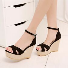 Womens Platform Open Toes Sandals Wedge High Heels Girls Party Dress Shoes Free