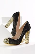 MIU MIU PRADA BLACK CALF HAIR GOLD GLITTER SEXY PUMPS SHOES EU 37.5 40 7 9 GTC