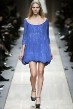 $2895 STELLA McCARTNEY Blue Chiffon Jacuard Unique Runway Dress EU 38 US 2 4 GTC
