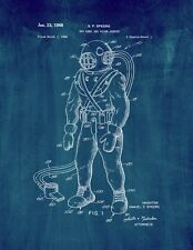 Toy Deep Sea Diver Outfit Patent Print Midnight Blue