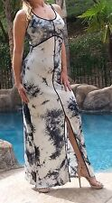 Maya Antonia-XL SIZE-Tie-Dye Black-White Maxi Dress w/back straps, Extra Long