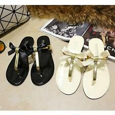 New Womens Ladies Toe Bow Jelly Summer Flat Flip Flops Thong Sandals Shoes hot!!