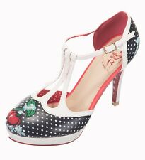 Banned Mary Jane Shoes High Heels Platform Polka Dot Cherries Cherry Black White