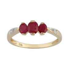 9ct Yellow Gold 0.87ct Natural Ruby & Diamond Classic Three Stone Style Ring