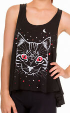 Banned Night Kitty Pentagram Cat Gothic Rockabilly Vest Top T-shirt Lace Black