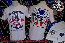 BIKER IRON CROSS RED WHITE BLUE USA MENS T SHIRT ROCK N ROLL HEAVY METAL