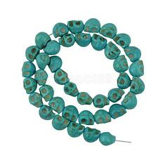 Halloween Turquoise Carved Skull Heads Jewelry Making Spacer Beads Blue DIY