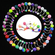 30/50Pcs Mixed Color Stainless Acrylic Ball Barbell Bar Navel Belly Button Rings