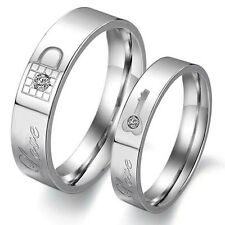 New Lovers Key Lock Crystal SilverCouple Rings Her and His Promise Ring Band