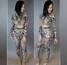 2016 New Sheer Tribal Tattoo Print Two Piece Set Crop Top and Pant Mesh Jumpsuit