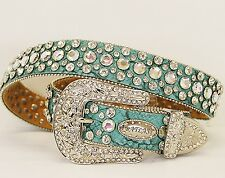 ATLAS WESTERN COWGIRL BLING WOMENS BELT CRYSTAL RHINESTONE TURQUOISE NEW