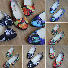 Ladies Womens Butterfly Print Flat Ballerina Pumps Ballet Casual Shoes Scandals