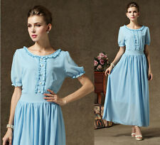 New Women's Casual Chiffon Long Maxi Evening Party Ruffle Short Sleeve Dress Q34