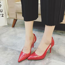 Womens Ladies Serpentine Pointed Toe Pumps High Heels Red Wedding Stiletto Shoes