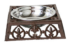 CAST IRON High QUALITY Pet Cat Dog Bowl Food Water Small & Large Rust & White