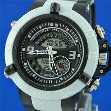 OHSEN Men's Analog Digital LCD Backlight Quartz Sport Alarm White Watch WH