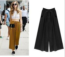 Casual loose skirt pant Elastic waist Big swing Wide leg pants New Culottes