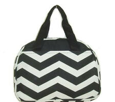 Personalized Black White Chevron Insulated Cooler Thermal Tote Box Lunch Bag