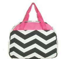Personalized Black Pink Chevron Insulated Cooler Thermal Tote Box Lunch Bag