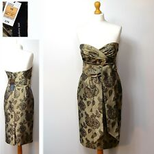 New M&S AUTOGRAPH Strapless PARTY DRESS ~ Size 10 ~ DARK GOLD (rrp £79)