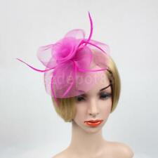 Flower Mesh Feather Fascinator Hat Hairpin Weddings Races Prom Ladies Fascinator