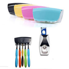 Wall Mount Automatic Toothpaste Dispenser Squeezer + 5 Toothbrush Holder Set