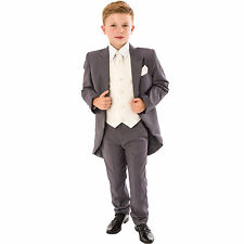 Boys Grey/Cream Swirl Tailcoat Suit 5 pc wedding suit party pageboy formal