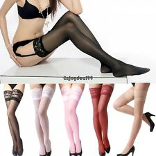 Womens Lace Top Thigh-Highs 5 Colors Stockings Red White Black Nude Pink OO55