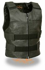 MEN'S MOTORCYCLE BULLETPROOF ZIPPER FRONT REPLICA VEST VEFRY SOFT BLACK W/VELCRO