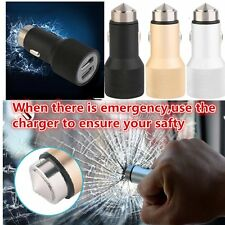 2 in 1 Car Charger & Metal Safety Hammer Dual USB Charger Adapter For Phones MG