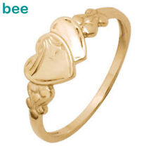 9ct 9k Yellow Gold Children's Engraved Signet Heart Other Ring Size 4.5-7.25