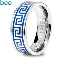 Greek Key Inlay Key Tungsten Band Trueman Carbide Mens Ring Size 8.25-13.25